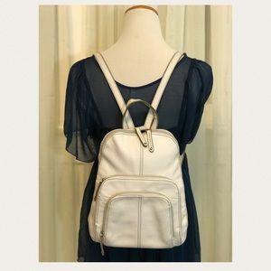 Tignanello White Leather Backpack Purse Bag